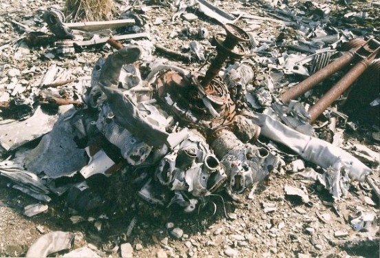 Wright Cyclone engine at the crash site of Boeing B-29 44-62276 in Succoth Glen below Beinn Tharsuinn near Lochgoilhead