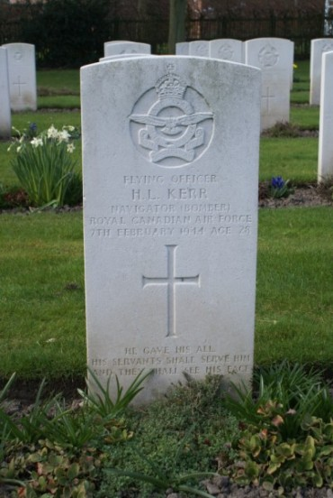 Grave of Flying Officer Hubert Lloyd Kerr RCAF at Chester Blacon Cemetery