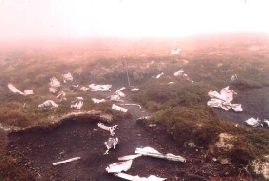 Wreckage at the crash site of Armstrong Whitworth Whitley Mk.V BD295 on Cawdor Moor near Inverness