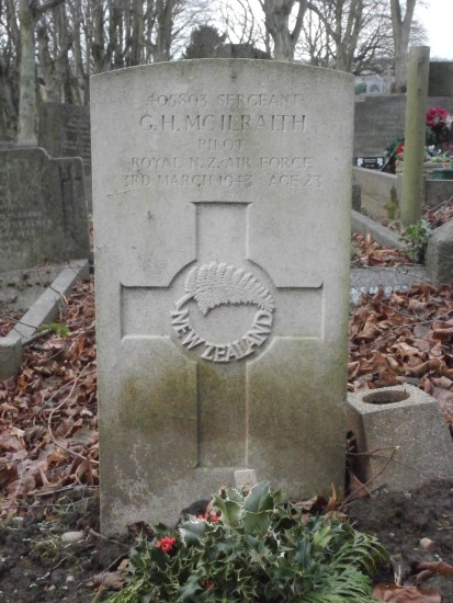 Grave of Sergeant George Howard McIlraith at Ashbourne, killed in Airspeed Oxford BG197 near Matlock, Derbyshire
