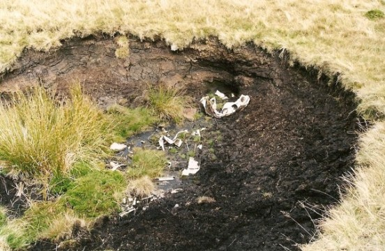 Wreckage at the crash site of Vickers Wellington BK347 on Whernside, Yorkshire