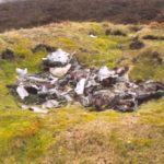 Remains of Mosquito TA525 at the crash site near Castle Bolton, Wensleydale, Yorkshire