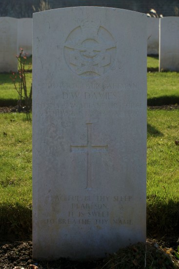 Grave of Leading Aircraftman Dennis William Davies, RCAF, at Harrogate (Stonefall) Cemetery, killed aboard Oxford DF471 on Great Coum, Dent