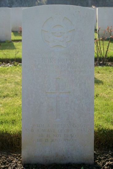 Grave of Corporal James Edmond Keighan, RCAF, at Harrogate (Stonefall) Cemetery, killed aboard Oxford DF471 on Great Coum, Dent