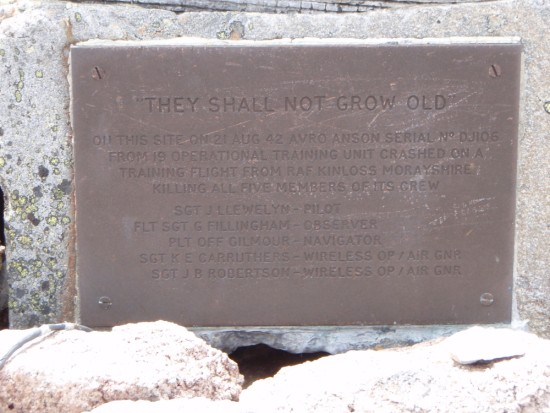 Close up of the memorial plaque at the crash site of Avro Anson DJ106 on Ben MacDui, Cairngorm Mountains