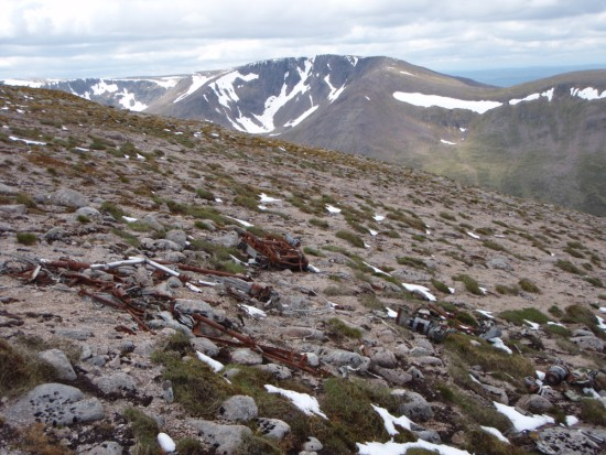 Crash site of Avro Anson Mk.I DJ106 on Ben MacDui, Cairngorm Mountains