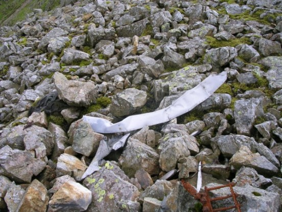 The item in the photo above is the largest item still at the crash site high on Sca Fell.