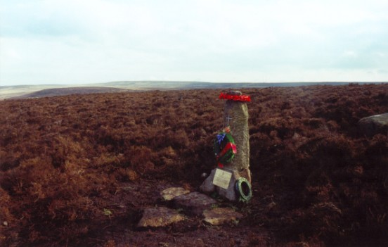 Memorial at the crash site of Halifax DK185, Crawshaw Moss, Ilkley, Yorkshire
