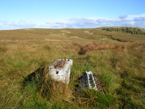 Rolls Royce Griffon engine from Fairey Firefly DT977 on Blaeloch Hill near Largs