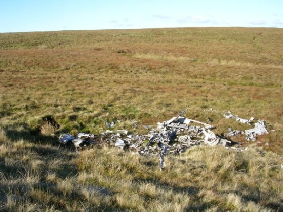 Wreckage at the crash site of Fairey Firefly DT977 on Blaeloch Hill, Largs, Ayrshire