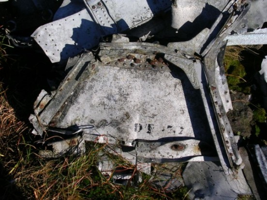 Panel at the crash site bearing the serial number DT977