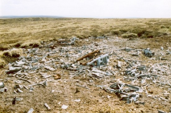 Crash site of Wellington DV718 on Blake Hill, Great Whernside, Kettlewell, Yorkshire