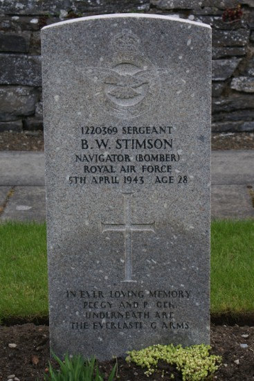 The grave of Sergeant Bernard Walter Stimson at Wick Cemetery, killed in the crash of de Havilland Mosquito DZ486 on Cranstackie, Durness