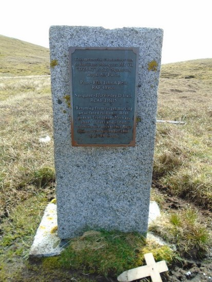 Memorial at the crash site of de Havilland Mosquito DZ642 on Royl Field, Clift Hills, Shetland