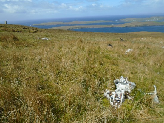 Rolls Royce Merlin engine at the crash site of de Havilland Mosquito DZ642 on Royl Field, Clift Hills, Shetland