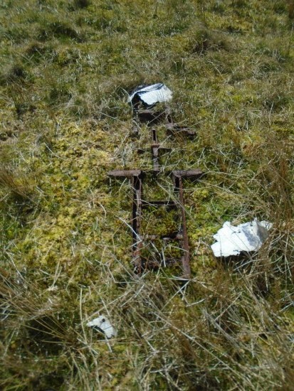 Wreckage at the crash site of de Havilland Mosquito DZ642 on Royl Field, Clift Hills, Shetland