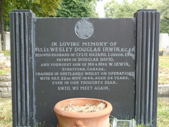 Grave of Flying Officer Wesley Douglas Irwin at the City of London Cemetery, Manor Park