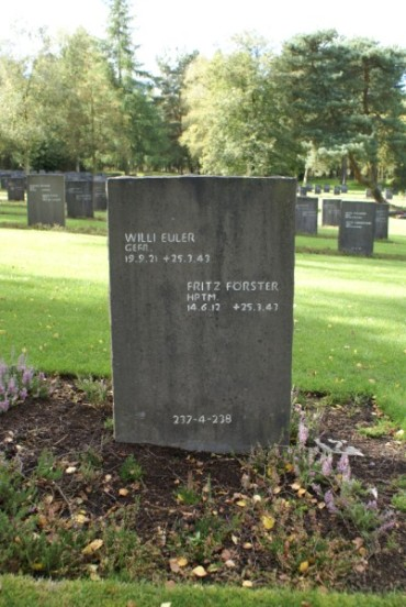 Grave marker of Willi Euler and Fritz Forster at Cannock Chase German Military Cemetery