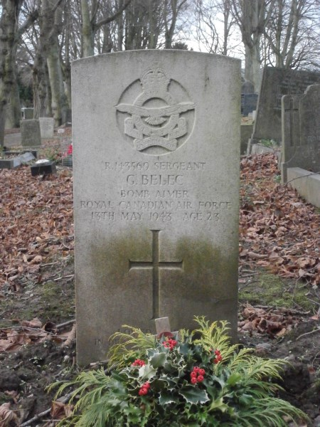 Grave of Sergeant Gordon Belec at Ashbourne Cemetery, killed in Armstrong Whitworth Whitley Mk.V EB338 at Alsop-en-le-Dale near Ashbourne, Derbyshire