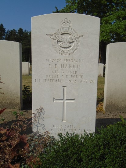 Grave of Sergeant Edwin Fuller Harris at Berlin 1939-1945 War Cemetery, killed onboard Lancaster DV185
