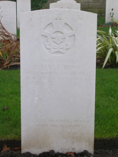 Grave of Pilot Officer Donald McFarlane Bowe at Harrogate Stonefall Cemetery