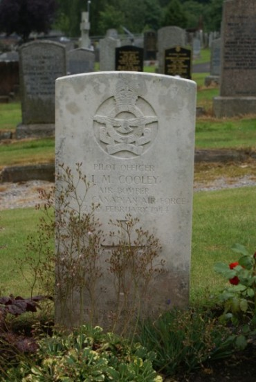 Grave of Pilot Officer John Morgan Cooley at Troqueer Cemetery, Dumfries