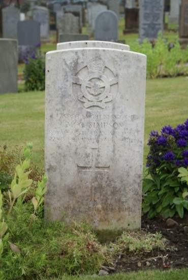 Grave of Flight Sergeant Mervyn Charles Simpson at Troqueer Cemetery, Dumfries