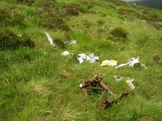 Assorted aircraft wreckage at the crash site of Avro Anson EG693 on Craigronald, Dumfries & Galloway