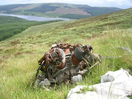 Armstrong Siddeley Cheetah engine at the crash site of Avro Anson EG693 on Craigronald, Dumfries & Galloway