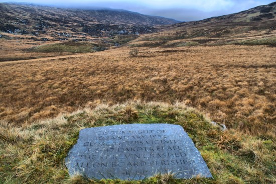 Memorial to the victims of the crash of Douglas Dakota St Kevin, EI-AFL, in Cwm Edno, Dolwyddelan, Conwy