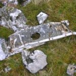 Wreckage below the crash site of Cessna 206 Skylane EI-BGK on the lower slopes of Beinn an Leathaid, Ardnamurchan