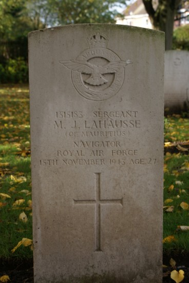 Sergeant Marc Jean Lahausse's grave in the Commonwealth War Grave plots at Chester Blacon Cemetery
