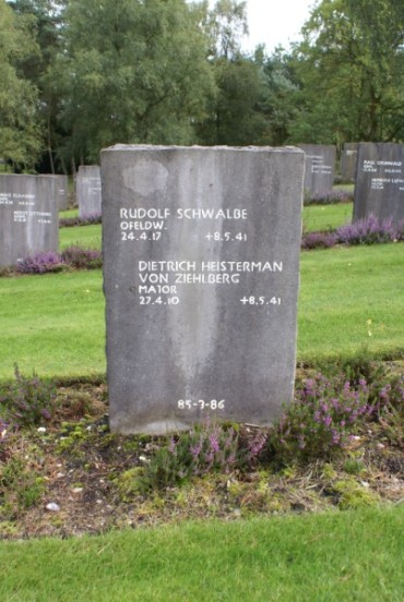 Grave of crewmembers from Ju88 F1+AD, Rudolf Schwalbe and Dietrich Heisterman von Ziehlberg at the Cannock Chase German Military Cemetery