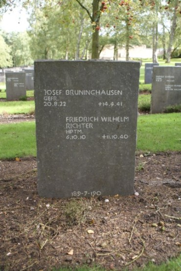 Grave of crew member Josef Bruninghausen at Cannock Chase German Military Cemetery