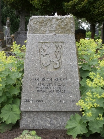 Grave of Warrant Officer Oldrich Bures at Tain Cemetery, killed in the crash of Consolidated Liberator FL949, Cuilags, Island of Hoy, Orkney
