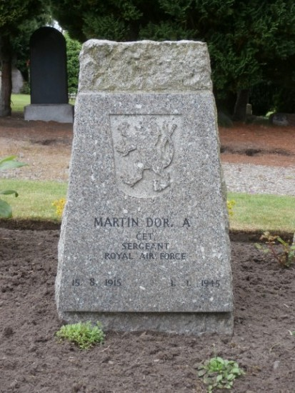 Grave of Sergeant Martin Dorniak at Tain Cemetery, killed in the crash of Consolidated Liberator FL949, Cuilags, Island of Hoy, Orkney