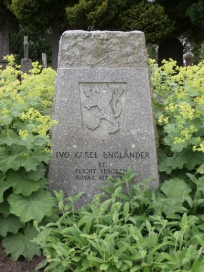 Grave of Flight Sergeant Ivo Karel Englander at Tain Cemetery, killed in the crash of Consolidated Liberator FL949, Cuilags, Island of Hoy, Orkney