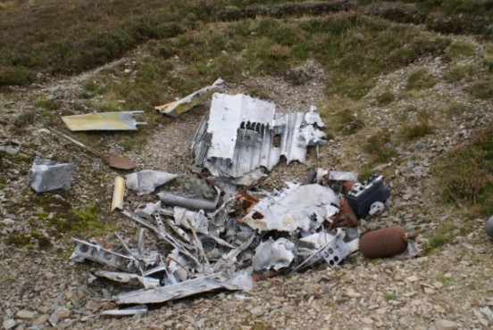 Pit of wreckage at the crash site of North American Harvard Mk.2b FT401 on Little Knock, Tweedsmuir