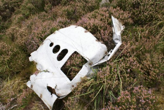 Engine cowl near the crash site of North American Harvard Mk.2b FT401 on Little Knock, Tweedsmuir