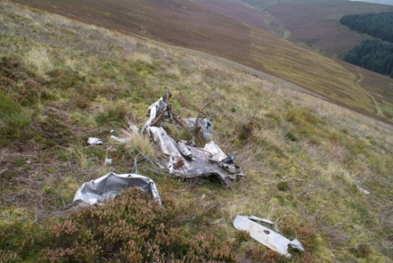 Engine firewall near the crash site of North American Harvard Mk.2b FT401 on Little Knock, Tweedsmuir