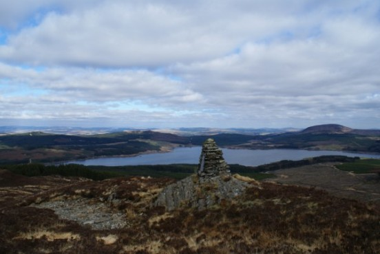 The view towards Clatteringshaws Loch from the crash site of Dragonfly G-AEHC