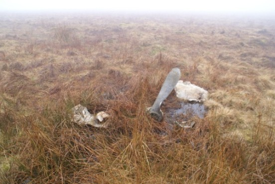 Wreckage at the crash site of de Havilland Dragon Rapide G-AFMF on Simonburn Common, Hexham, Northumberland