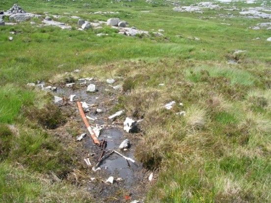 Wreckage at the crash site of Auster Workmaster G-APMJ on Dungeon Hill near Glen Trool, Dumfries and Galloway