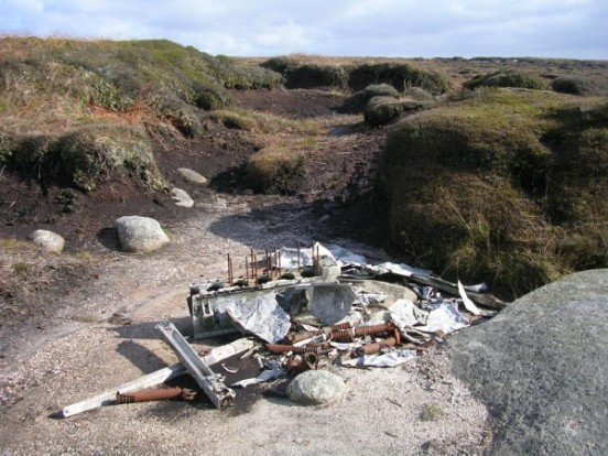 Crash site of de Havilland Dragon Rapide G-ALBC on Kinder Scout near Edale, Derbyshire