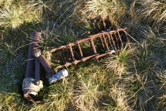 Wreckage at the crash site of Miles Hawk G-ALGJ on Lank Rigg in the Lake District
