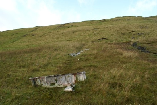 Wreckage at the crash site of Precival Prentice G-AOLR in the Kilsyth Hills