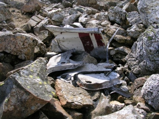Pieces of wreckage near Esk Hause, Esk Dale, at the crash site of Piper Cherokee G-ASEK