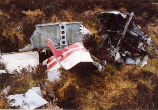 Wreckage at the crash site of Piper Cherokee G-AVYN at Ashfold Gill Head near Pateley Bridge, North Yorkshire