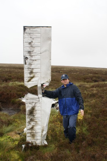 Elevator at the crash site of Piper Cherokee G-AVYN at Ashfold Gill Head near Pateley Bridge, North Yorkshire