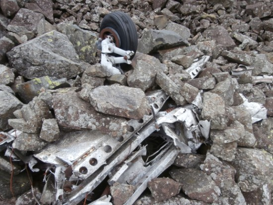 Wreckage close to the crash site of Piper Cherokee G-AZYP on Illgill Head above Wastwater, Wasdale